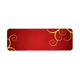Remolinos de oro en de color rojo oscuro etiqueta de remite