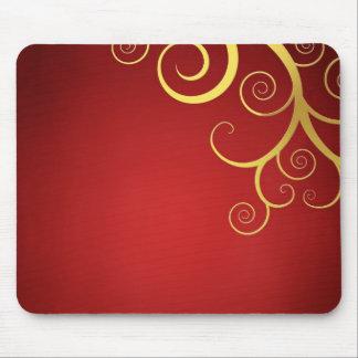 Remolinos de oro en de color rojo oscuro mouse pad