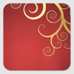 Remolinos de oro en de color rojo oscuro pegatinas cuadradas personalizadas