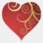 Remolinos de oro en de color rojo oscuro pegatinas de corazon personalizadas