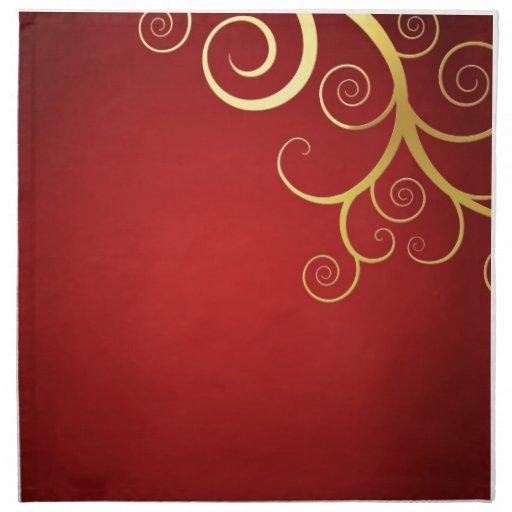 Remolinos de oro en de color rojo oscuro servilletas
