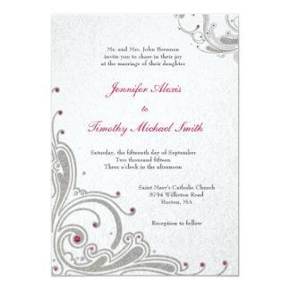 Remolinos de plata del brillo + el casarse rosado invitación 12,7 x 17,8 cm