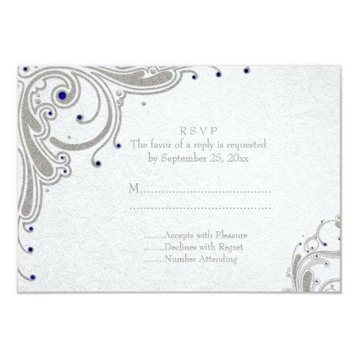 """Remolinos de plata del brillo + joyas azules que invitación 3.5"""" x 5"""""""