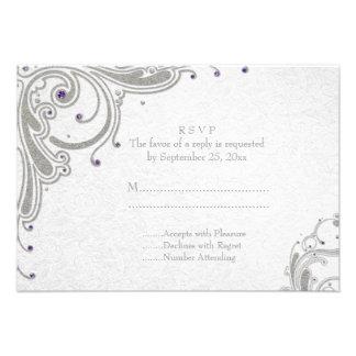 Remolinos de plata del brillo + joyas púrpuras que comunicado personal