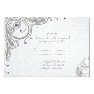 Remolinos de plata del brillo + joyas púrpuras que invitación 8,9 x 12,7 cm