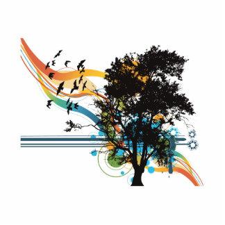 Remolinos del arco iris de los pájaros del roble escultura fotografica