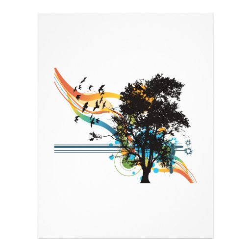 """Remolinos del arco iris de los pájaros del roble folleto 8.5"""" x 11"""""""