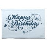 Remolinos del azul del feliz cumpleaños mantel