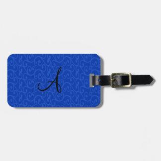 Remolinos del azul del monograma etiqueta para equipaje