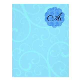 """Remolinos del azul del monograma folleto 8.5"""" x 11"""""""
