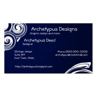 Remolinos del azul y del blanco tarjetas de visita