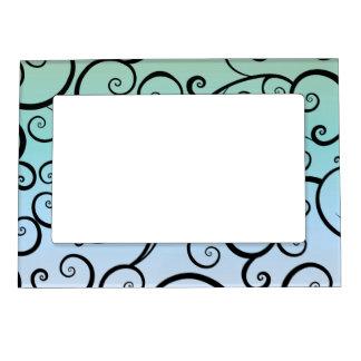 Remolinos del azul y del negro marcos magneticos de fotos