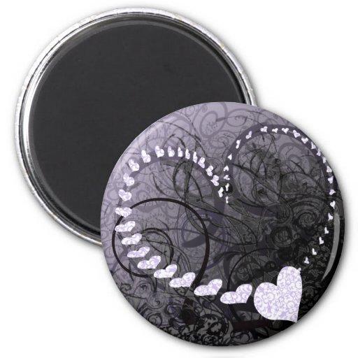 Remolinos del corazón de la lavanda imán redondo 5 cm