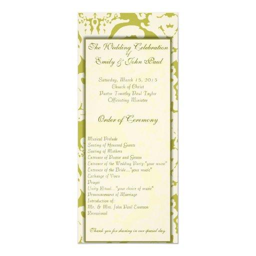 Remolinos del damasco del verde verde oliva y del invitacion personal