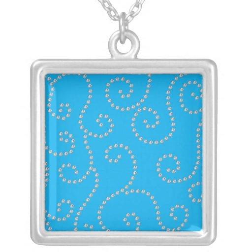 Remolinos del diamante del azul de cielo grimpola personalizada