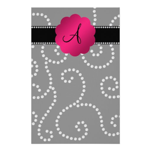 Remolinos del diamante negro del monograma papelería de diseño