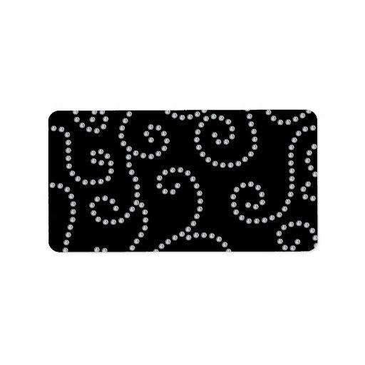 Remolinos del diamante negro etiquetas de dirección