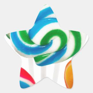 Remolinos del lechón del arco iris pegatina en forma de estrella