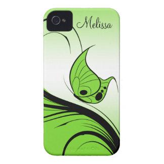 Remolinos del negro de la mariposa de la verde Case-Mate iPhone 4 cárcasas