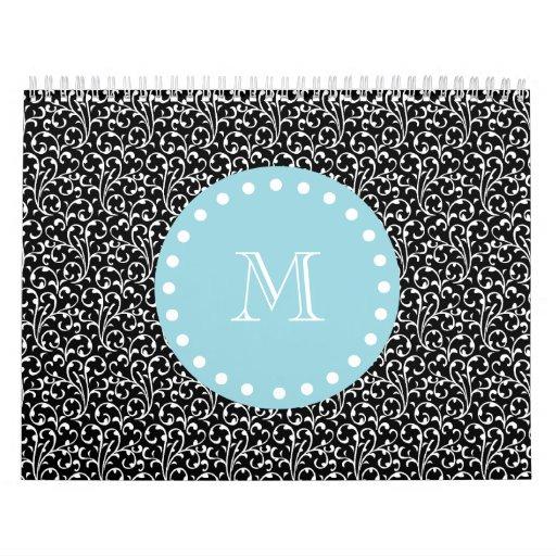 Remolinos del negro, monograma blanco azul calendarios