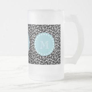 Remolinos del negro, monograma blanco azul tazas de café