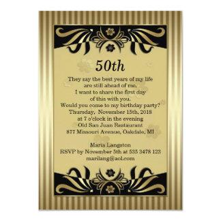 Remolinos del negro y del oro, 50.a fiesta de invitación 11,4 x 15,8 cm