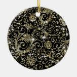 Remolinos del negro y del oro ornamento para arbol de navidad