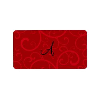 Remolinos del rojo del monograma etiqueta de dirección