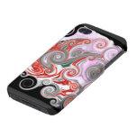 Remolinos del rojo y del negro iPhone 4/4S carcasa