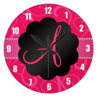 Remolinos del rosa del monograma relojes