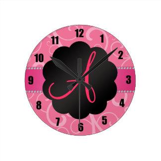 Remolinos del rosa del monograma reloj