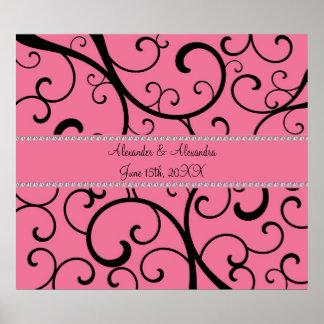 Remolinos del rosa y favores del boda de diamantes póster