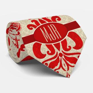 Remolinos del rubí y monograma de color topo del corbatas personalizadas