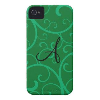 Remolinos del verde del monograma Case-Mate iPhone 4 funda
