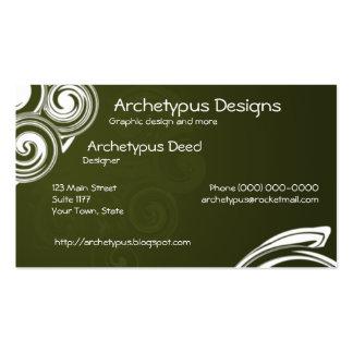 Remolinos del verde verde oliva y del blanco tarjetas de visita