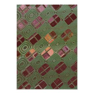 """Remolinos del verde y tonos de la tierra invitación 5"""" x 7"""""""
