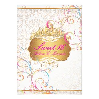 Remolinos dulces 16 Rainbow de PixDezines Invitación Personalizada