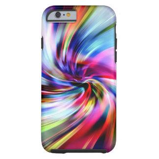 Remolinos electrónicos del arco iris multicolor funda de iPhone 6 tough