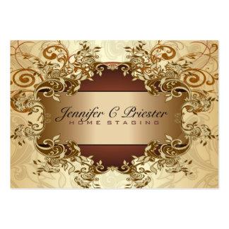 Remolinos elegantes 2 del vintage de los tonos del tarjetas de visita grandes