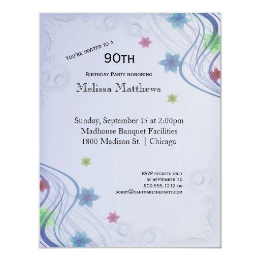 """Remolinos elegantes del azul y Waterflowers Invitación 4.25"""" X 5.5"""""""