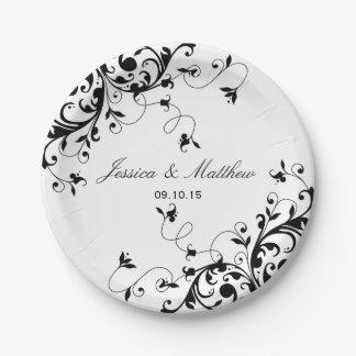 Remolinos elegantes negros y boda blanco platos de papel