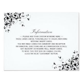 """Remolinos elegantes negros y detalle blanco del invitación 4.25"""" x 5.5"""""""