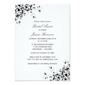 """Remolinos elegantes negros y ducha nupcial blanca invitación 5"""" x 7"""""""