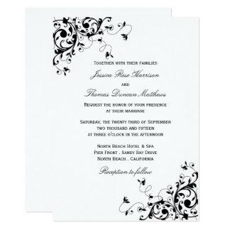 """Remolinos elegantes negros y invitaciones blancas invitación 5"""" x 7"""""""