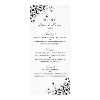Remolinos elegantes negros y menú blanco del boda lonas personalizadas
