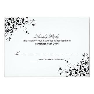 """Remolinos elegantes negros y tarjetas blancas de invitación 3.5"""" x 5"""""""