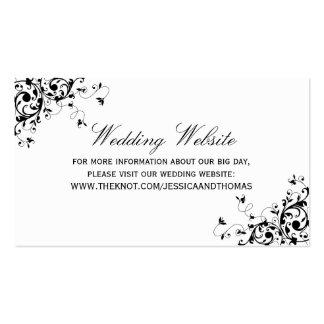 Remolinos elegantes negros y Web site blanco del Tarjetas De Visita