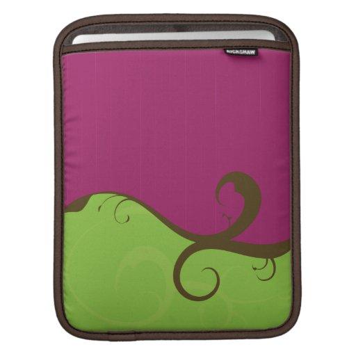 Remolinos elegantes púrpuras y verdes mangas de iPad