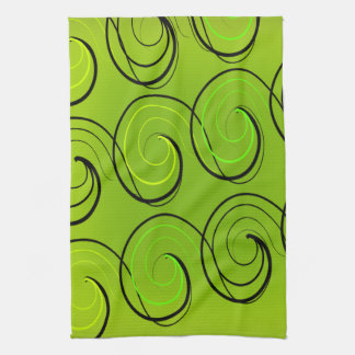 Remolinos en verde toallas de mano