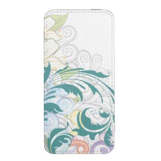 Remolinos florales abstractos bolsillo para iPhone